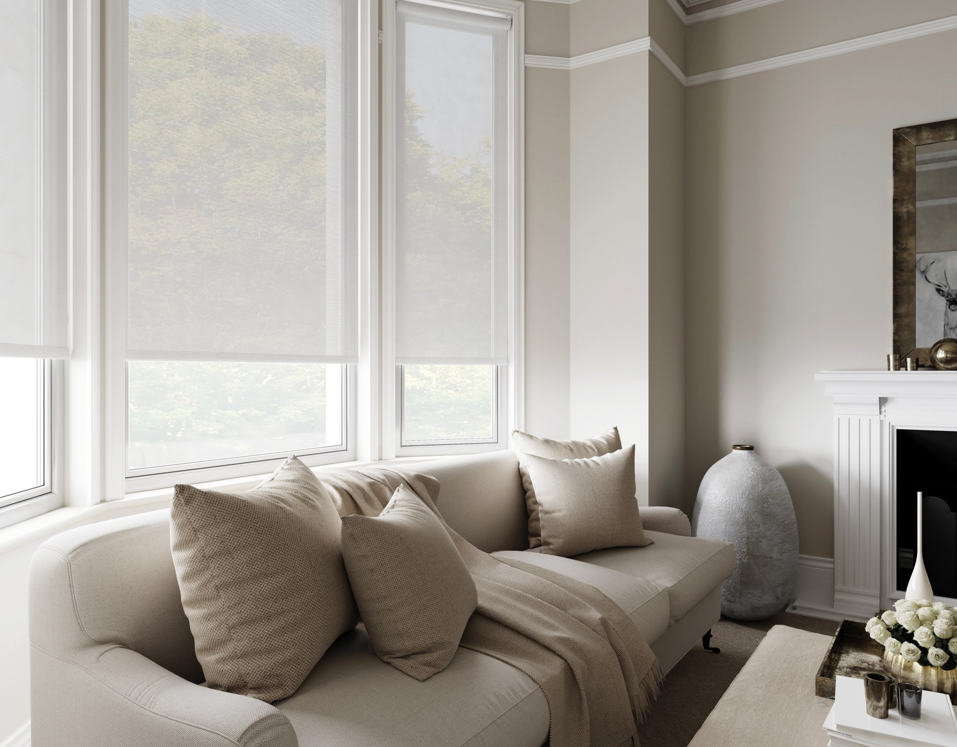 sheer roller blinds bay window